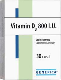Generica Vitamin D3 800 IU 30 kapslí