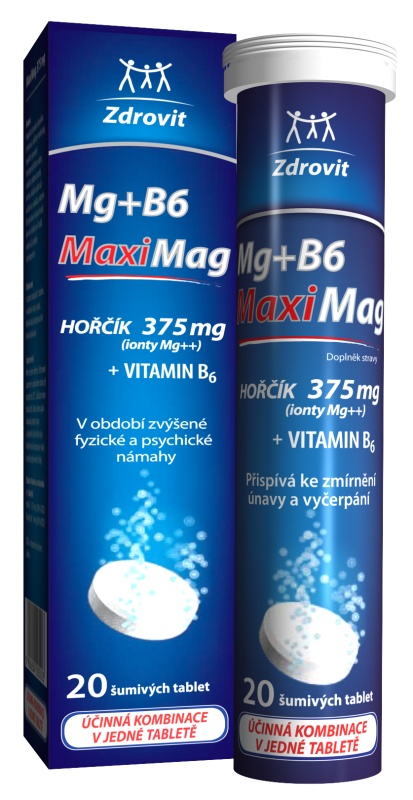 Zdrovit MaxiMag Hořčík 375 mg + B6 20 šumivých tablet